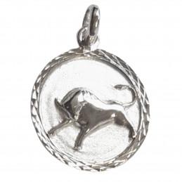 Pendentif médaille astrologique du zodiaque Taureau en argent + chaine