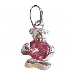Pendentif ours nounours coeur rose en argent 925°/00 + chaîne