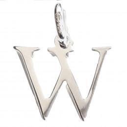 Pendentif Initiale simple lettre W en argent 925°/00