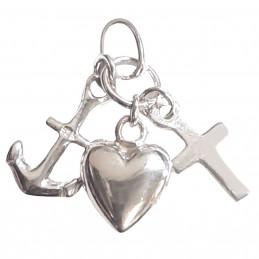 Pendentif 3 vertus vertues en argent : foi amour charité + chaine