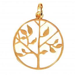 Pendentif médaille arbre de vie en plaqué or + chaîne