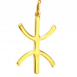 Pendentif croix Z Berbère kabyle en plaqué or + chaîne
