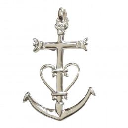 Pendentif grande Croix de Camargue Ancre en argent 3,5cm