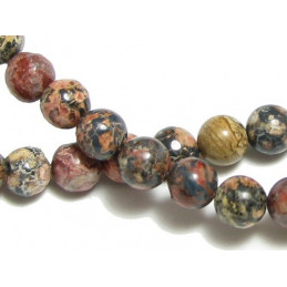 Fil de 62 perles rondes 6mm 6 mm en Jaspe Léopard