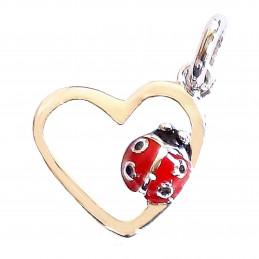 Pendentif enfant coccinelle rouge dans un coeur en argent + chaîne