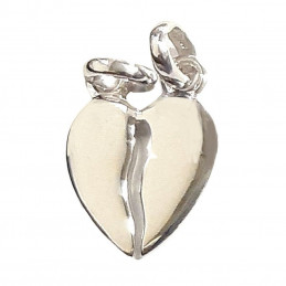 Pendentif Coeur sécable à partager en argent 925°/00 + 2 chaînes