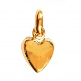 Pendentif femme enfant Coeur simple en plaqué or + chaîne