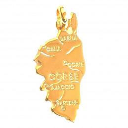 Pendentif carte de la Corse Ile de Beauté en plaqué or
