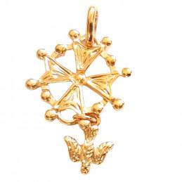 Pendentif Croix Protestante ou Huguenote en plaqué or + chaîne