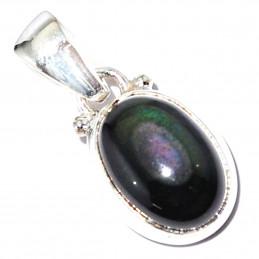Pendentif en argent serti d'une obsidienne noire oeil céleste arc en ciel naturelle + chaine 1,5cm gxi28