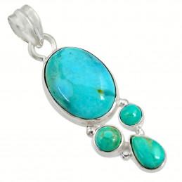 Pendentif en argent serti de 4 turquoises bleues naturelles + chaine 3,5cm gxi38