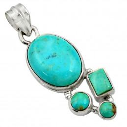 Pendentif en argent serti de 4 turquoises bleues naturelles + chaine 3,5cm gxi39