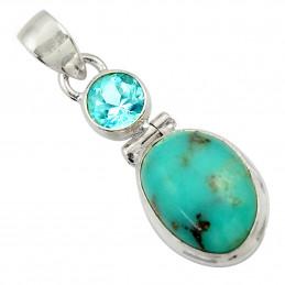 Pendentif en argent serti d'une turquoise bleue et d'une topaze naturelles + chaine 3cm gxi40