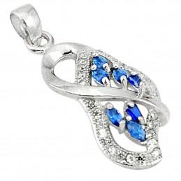 Pendentif en argent serti de 6 petites gemmes saphirs bleus naturels + chaine 2cm gxi41