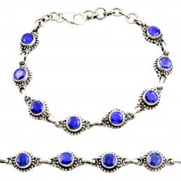 Bracelet en argent et cabochons en saphir bleu véritable 15 - 18cm GXI97
