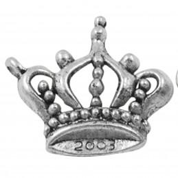 Lot de 5 breloques argentées couronne de princesse reine 2cm