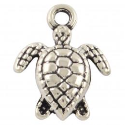 Lot de 10 breloques argentées tortue 1,5cm