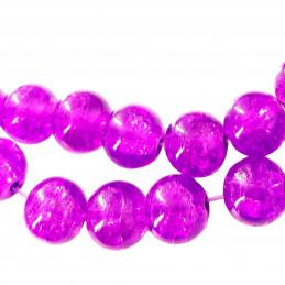 Fil de 130 perles rondes craquelées violet vif en verre 6mm 6 mm