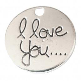 Lot de 5 breloques argentées médaille I love you 2cm