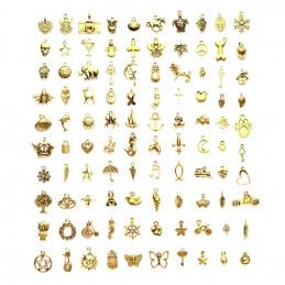 Lot de 100 breloques couleur dorée or diverses en mélange mix