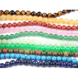 100 perles rondes Mix de pierres semi précieuses 8mm