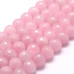 Fil de 42 perles facettées rondes à facettes 8mm 8 mm en Quartz Rose