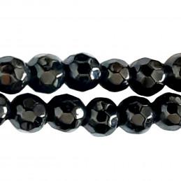 Fil de 90 perles facettées rondes 4mm 4 mm en obsidienne noire à facettes