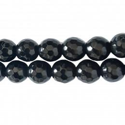 Fil de 45 perles facettées rondes 8mm 8 mm en obsidienne noire à facettes