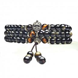 Bracelet mala tibétain long à enrouler 3 tours perles 6mm en obsidienne dorée et oeil de tigre