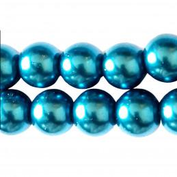 Lot de 100 perles rondes Nacrées 8mm 8 mm - bleu indigo