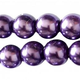 Lot de 100 perles rondes Nacrées 8mm 8 mm - violet fonçé améthyste