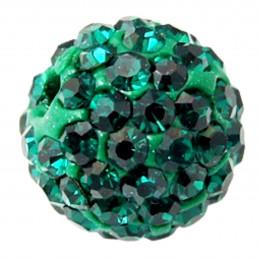 Lot de 5 boules disco strass rondes 8mm couleur vert émeraude à facettes pavé