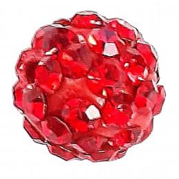 Lot de 5 boules disco strass rondes 8mm couleur rouge light siam à facettes pavé