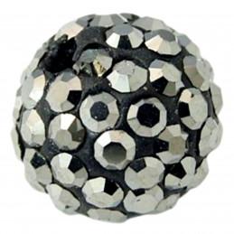 Lot de 5 boules disco strass rondes 8mm couleur gris hématite à facettes pavé