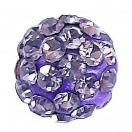 Lot de 5 boules disco strass rondes 8mm couleur violet fonçé tanzanite à facettes pavé