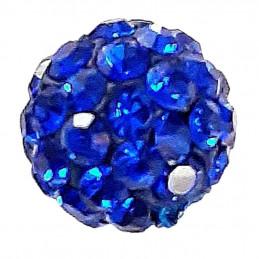 Lot de 5 boules disco strass rondes 8mm couleur bleu saphir à facettes pavé