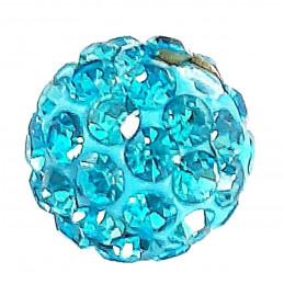 Lot de 5 boules disco strass rondes 8mm couleur bleu aquamarine à facettes pavé
