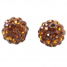 Lot de 5 boules disco strass rondes 8mm couleur marron smoked topaz à facettes pavé