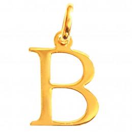 Pendentif Initiale simple lettre B en plaqué or