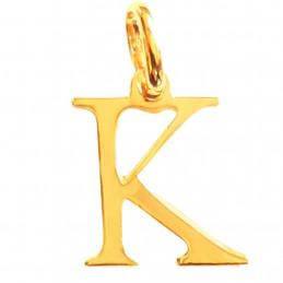 Pendentif Initiale simple lettre K en plaqué or