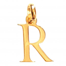 Pendentif Initiale simple lettre R en plaqué or
