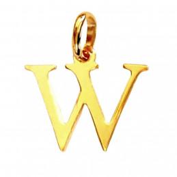 Pendentif Initiale simple lettre W en plaqué or