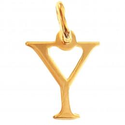 Pendentif Initiale simple lettre Y en plaqué or