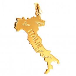 Pendentif carte de l' Italie en plaqué or