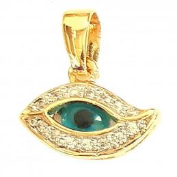 Pendentif oeil bleu porte bonheur mauvais sort en plaqué or + chaine