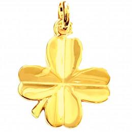 Pendentif Trèfle à 4 feuilles porte bonheur en plaqué or + chaîne