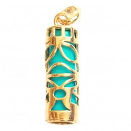 Pendentif grand Tiki Polynésien turquoise maori en plaqué or + chaîne