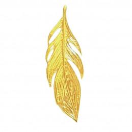 Pendentif femme enfant plume d'ange filigrané en plaqué or