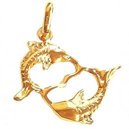 Pendentif Signe Astrologique zodiaque Poissons en plaqué or + chaine