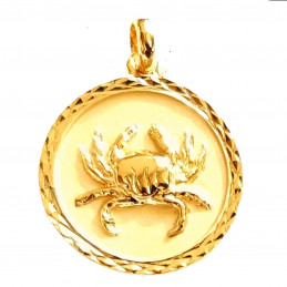 Pendentif médaille astrologique zodiaque Cancer en plaqué or